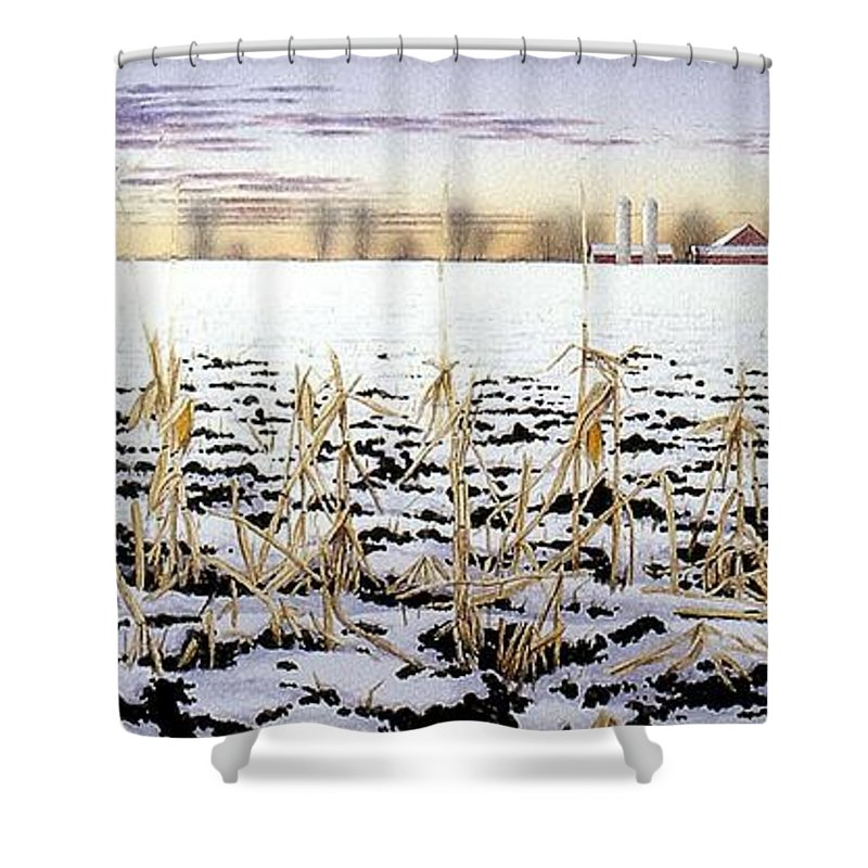 Winter Shower Curtain featuring the painting Cornfield In Winter by Conrad Mieschke