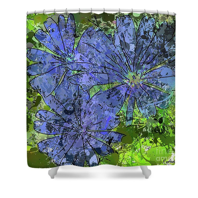 Abstract Art Shower Curtain featuring the digital art Cornflower by Dragica Micki Fortuna