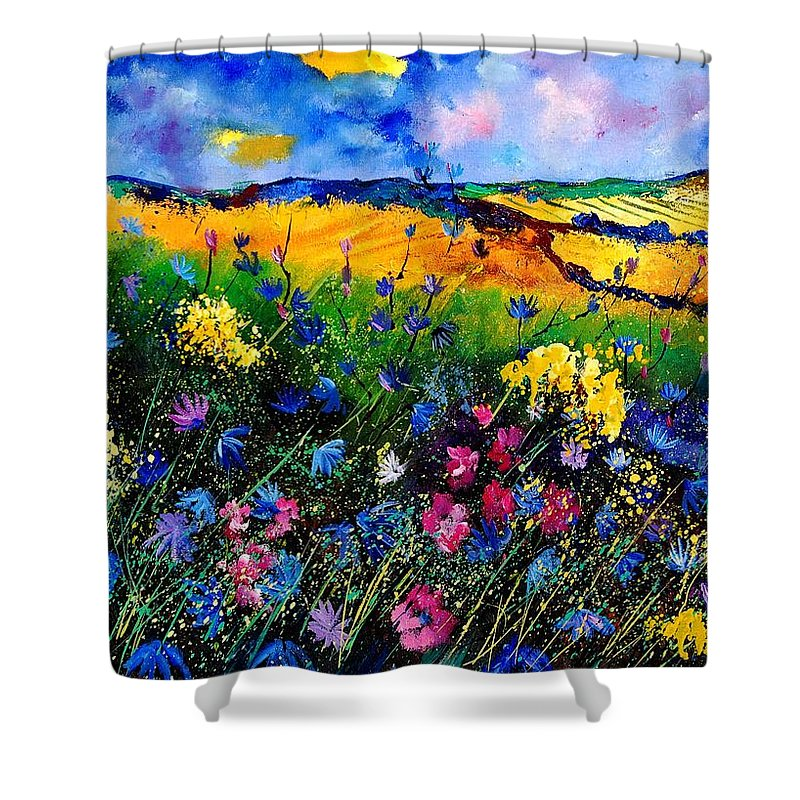 Flowers Shower Curtain featuring the painting Cornflowers 680808 by Pol Ledent