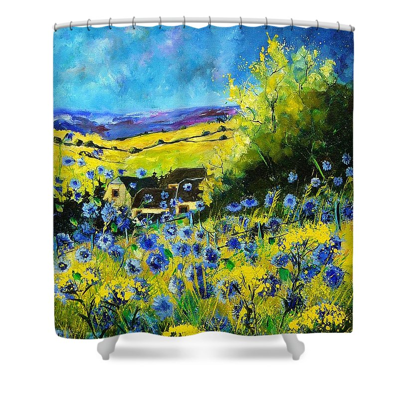 Flowers Shower Curtain featuring the painting Cornflowers In Ver by Pol Ledent