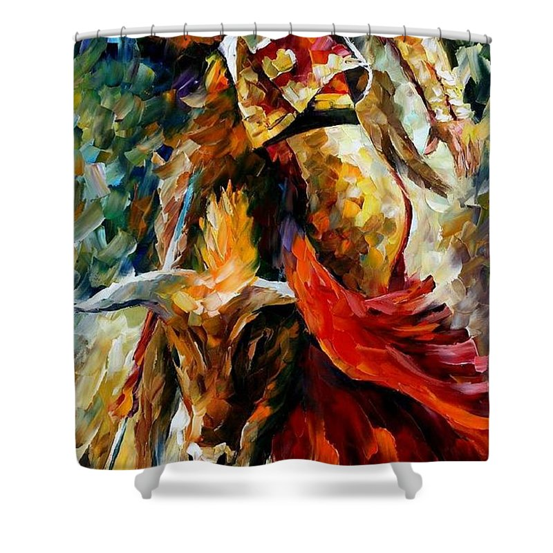 Bull Shower Curtain featuring the painting Corrida by Leonid Afremov