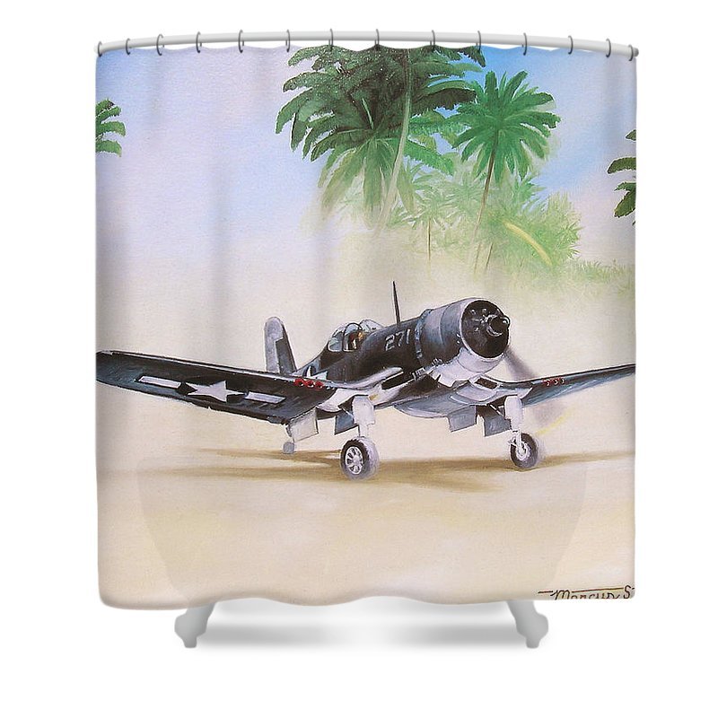 Aviation Shower Curtain featuring the painting Corsair Preflight by Marc Stewart