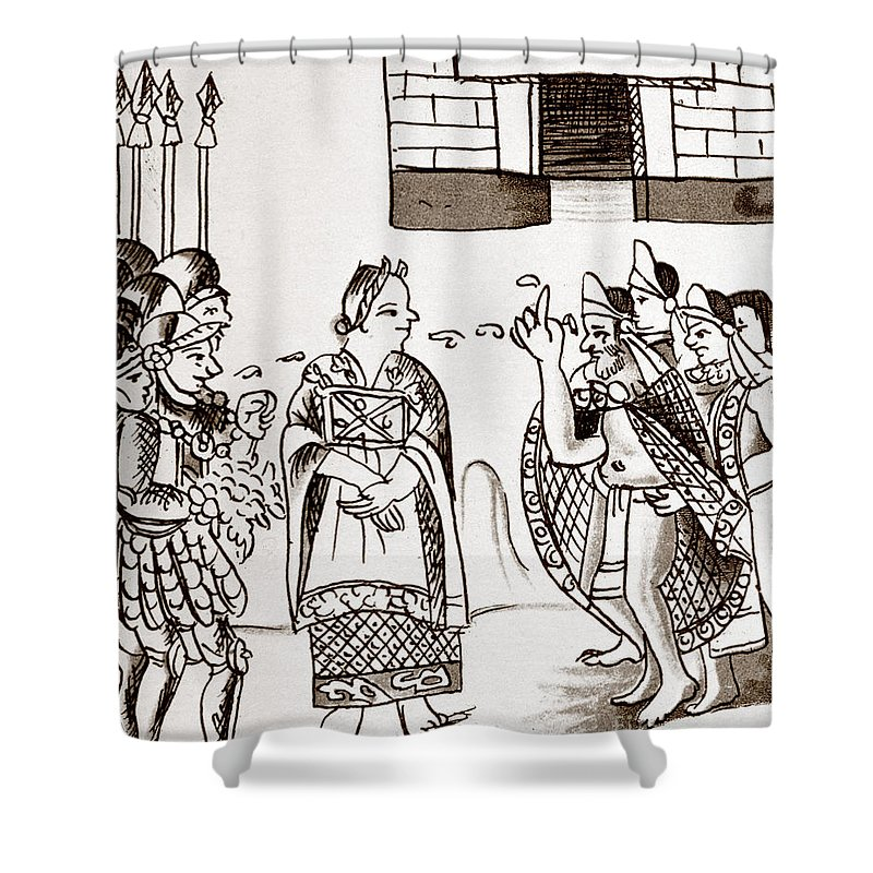 1540 Shower Curtain featuring the photograph Cortes & Montezuma, 1519 by Granger
