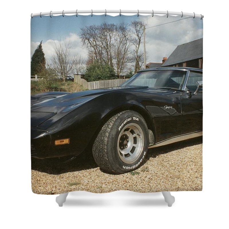 American Sports Shower Curtain featuring the photograph Corvette Stingray C3 by Ted Denyer