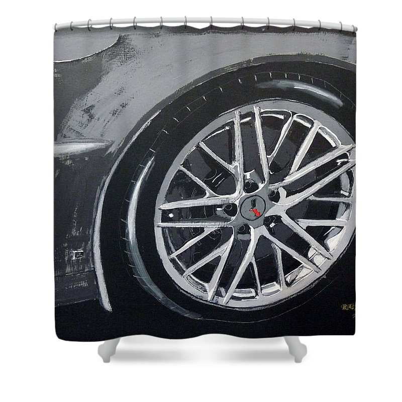 Corvette Shower Curtain featuring the painting Corvette Wheel by Richard Le Page