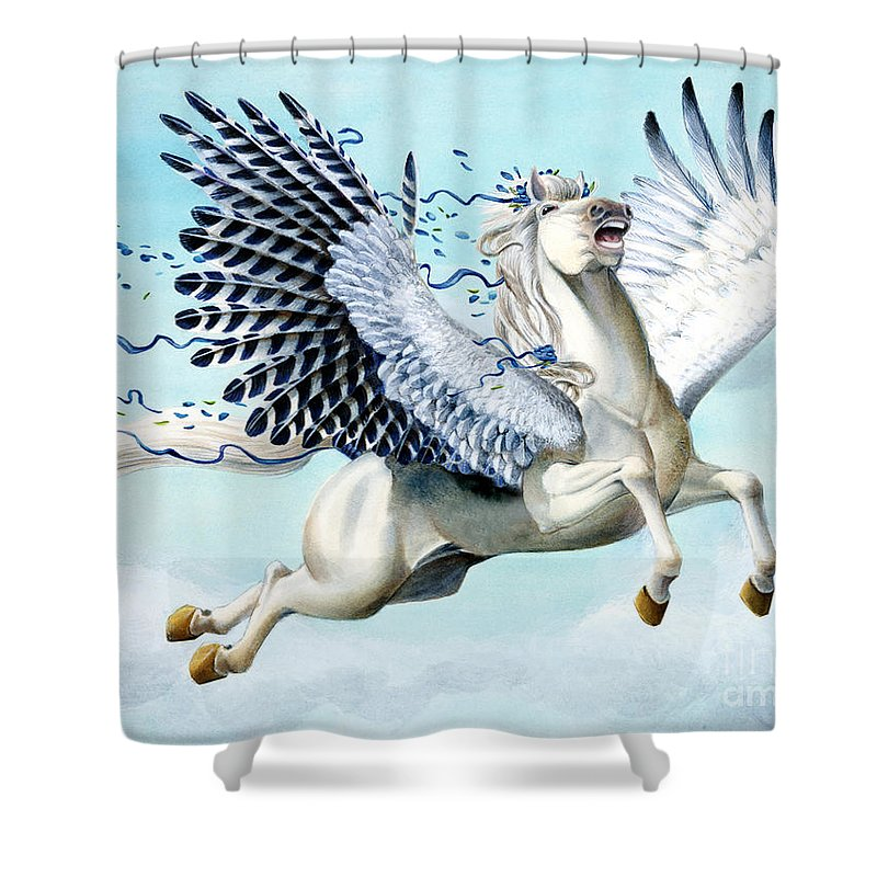 Artwork Shower Curtain featuring the painting Cory Pegasus by Melissa A Benson