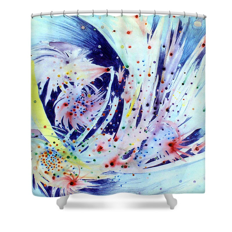 Abstract Shower Curtain featuring the painting Cosmic Candy by Steve Karol