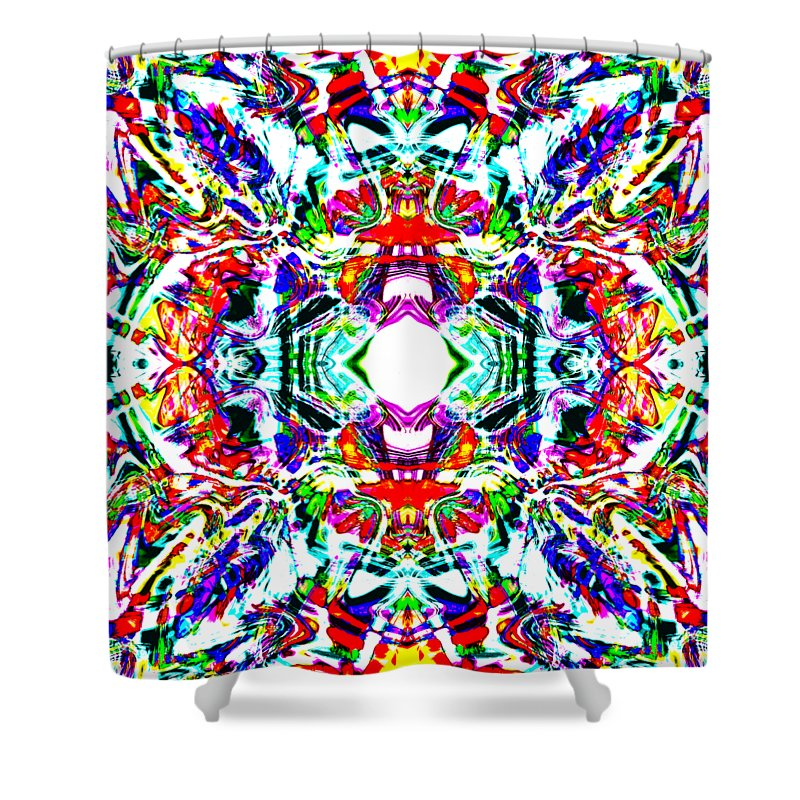 Abstract Shower Curtain featuring the digital art Cosmic Clam by Blind Ape Art