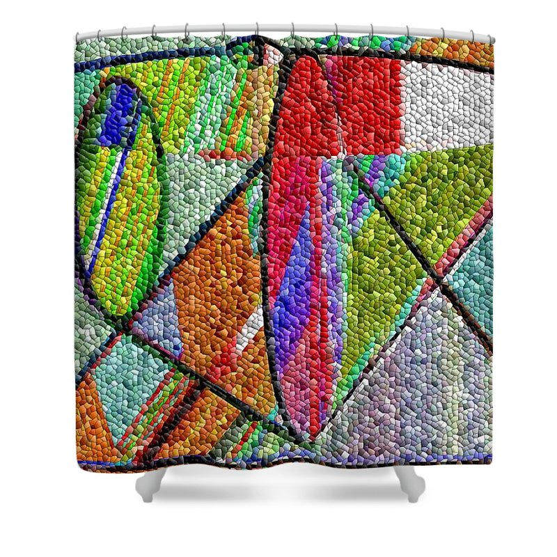 Life Shower Curtain featuring the digital art Cosmic Lifeways Mosaic by Helmut Rottler