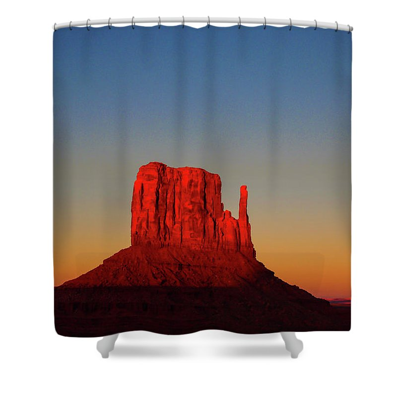 Landscape Shower Curtain featuring the photograph Cosmic Sunset At Monument Valley by Nana Suzuki