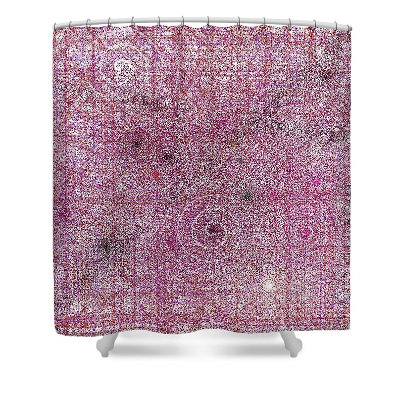Cg Shower Curtain featuring the digital art Cosmos Against Pink Mottled Glass 7-22-2015 #1 by Steven Harry Markowitz