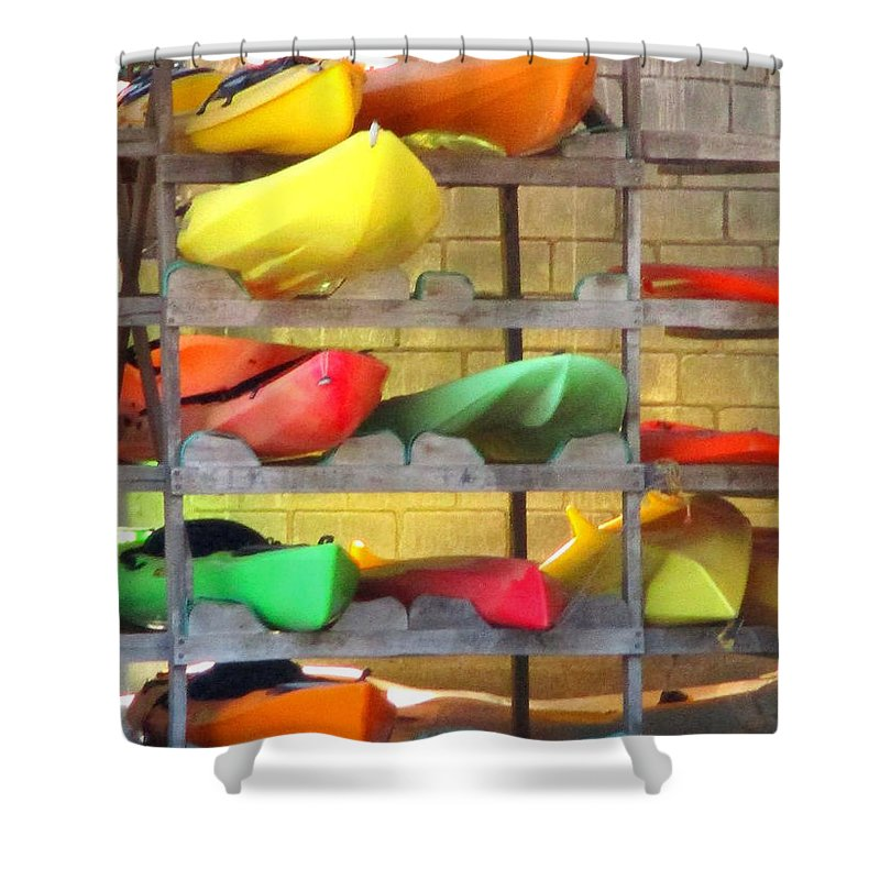Costa Rica Shower Curtain featuring the photograph Costa Rica Kayaks by Randall Weidner