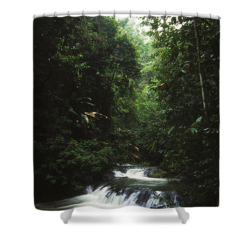 Costa Rica Shower Curtain featuring the photograph Costa Rica Waterfall In The Carocavado by James Forte