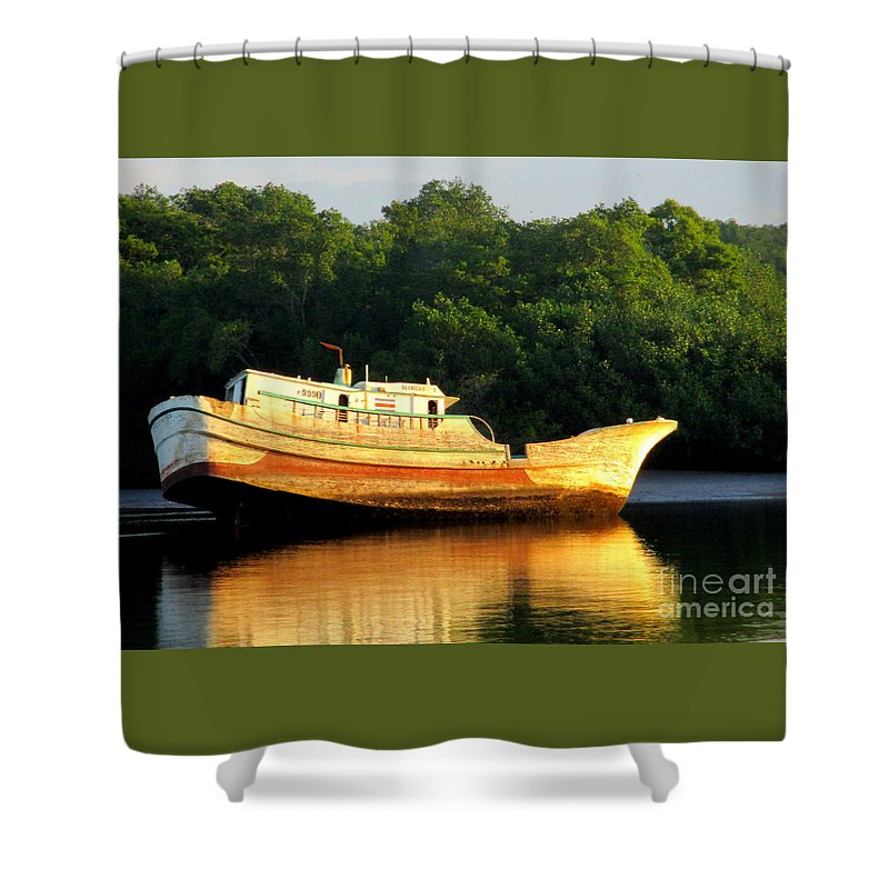 Costa Rica Shower Curtain featuring the photograph Costa Rica Wreck 3 by Randall Weidner