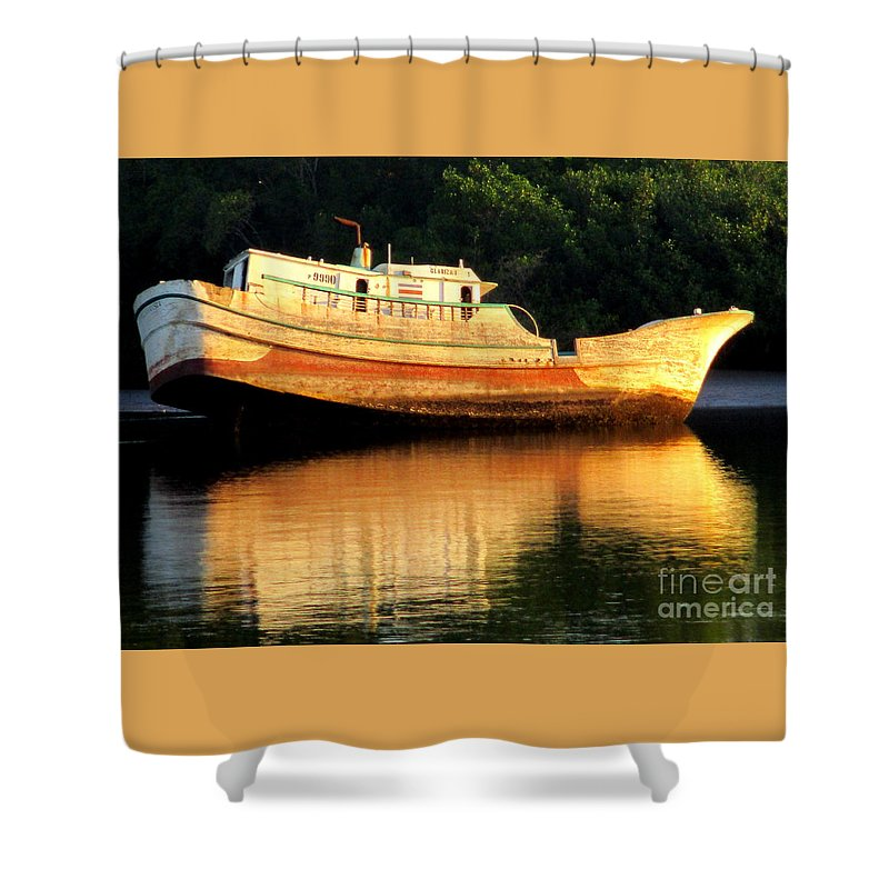 Costa Rica Shower Curtain featuring the photograph Costa Rica Wreck 4 by Randall Weidner
