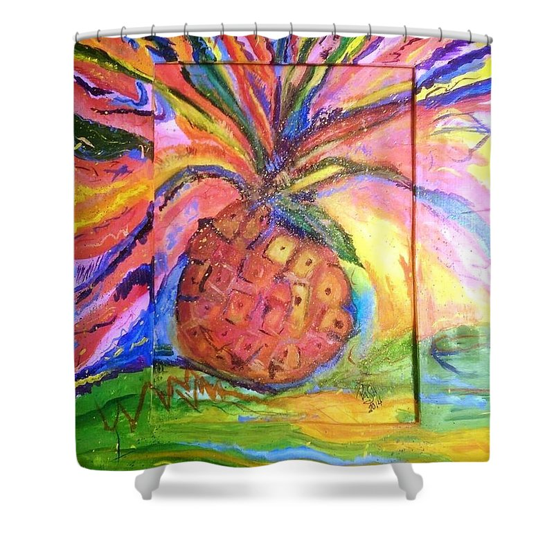 Pineapple Shower Curtain featuring the painting Costa Rican Pineapple by Peggy Ann Serena Hemmer