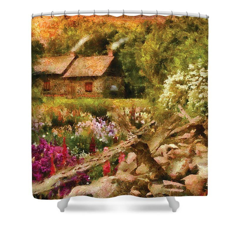 Savad Shower Curtain featuring the photograph Cottage - There's No Place Like Home by Mike Savad