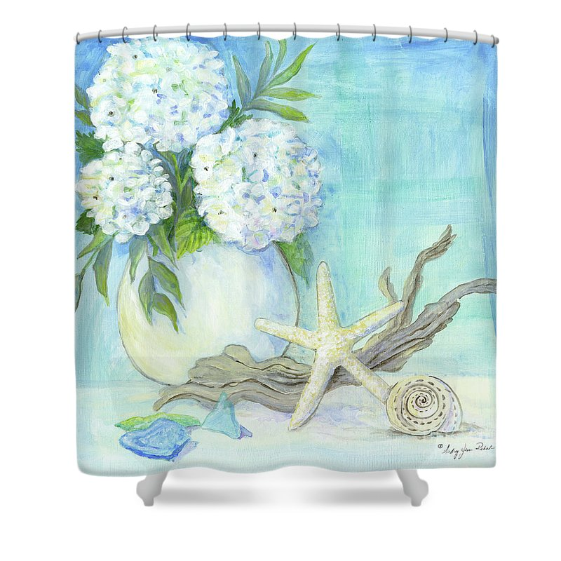 White Hydrangeas Shower Curtain Featuring The Painting Cottage At Shore 1 Hydrangea Bouquet W
