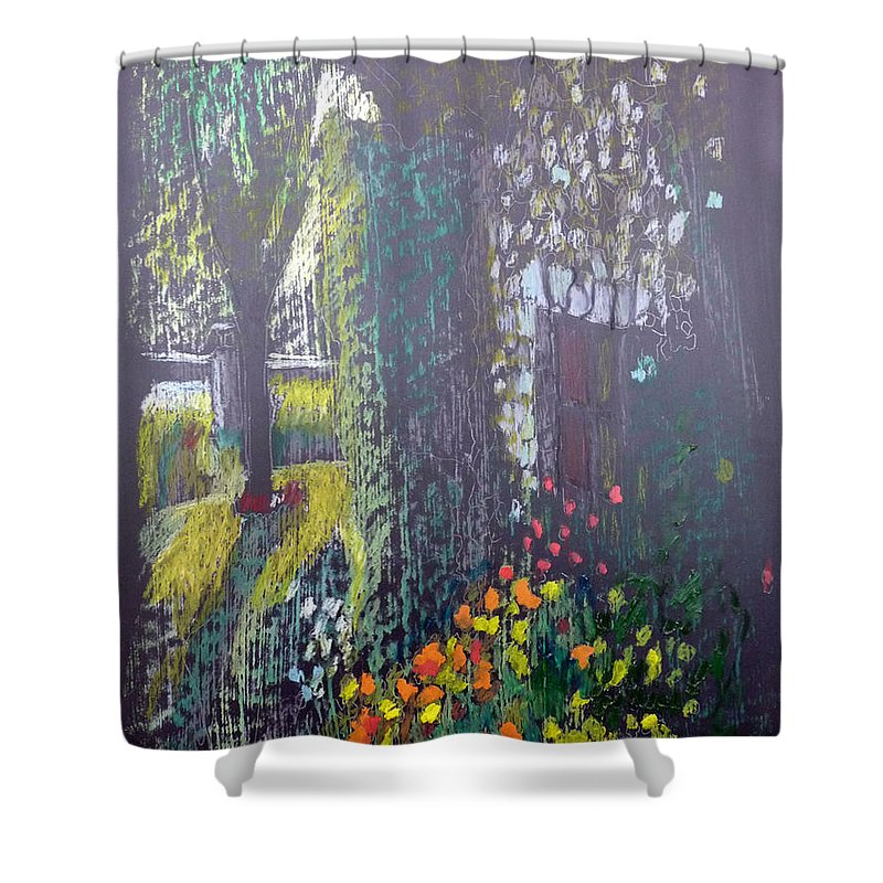 Cottage Shower Curtain featuring the painting Cottage Flowers by Richard Le Page