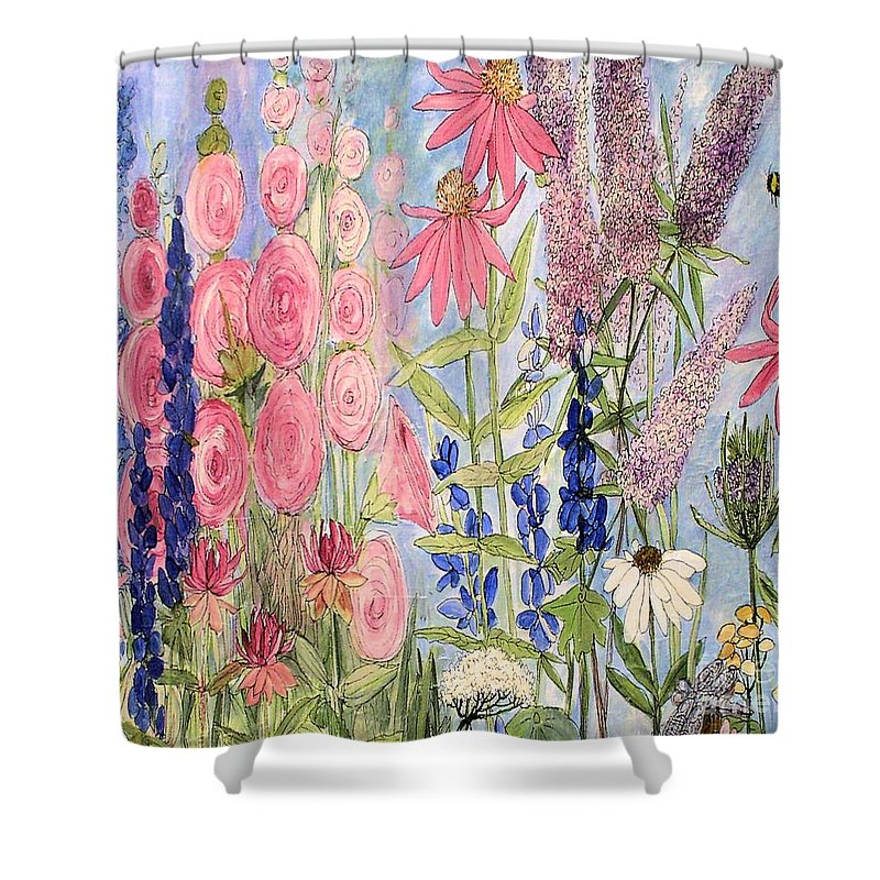 Laurie Rohner Shower Curtain featuring the painting Cottage Flowers With Dragonfly by Laurie Rohner
