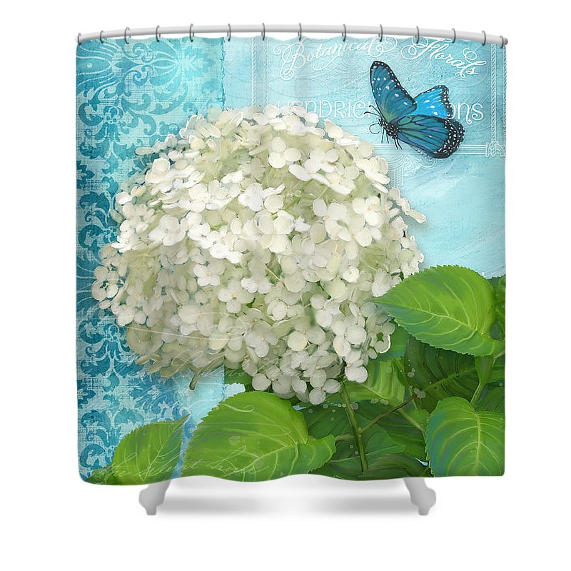 White Hydrangea Shower Curtain Featuring The Painting Cottage Garden With Blue Butterfly By Audrey