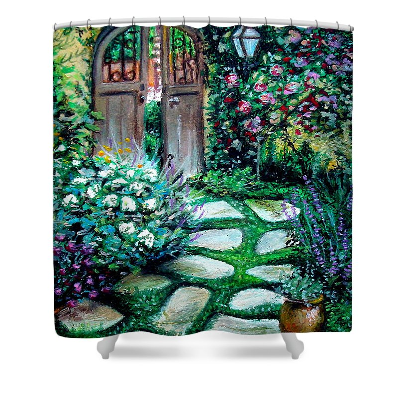 Landscape Shower Curtain featuring the pastel Cottage Gates by Elizabeth Robinette Tyndall
