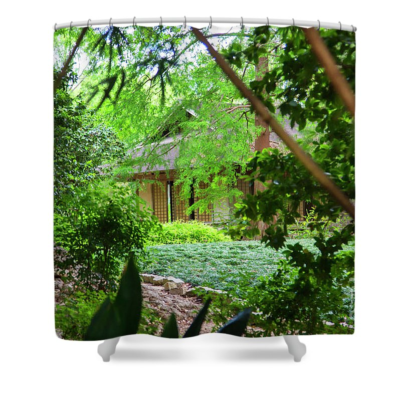 Landscape Shower Curtain featuring the photograph Cottage Hidden Rip Van Winkle Gardens Louisiana by Chuck Kuhn