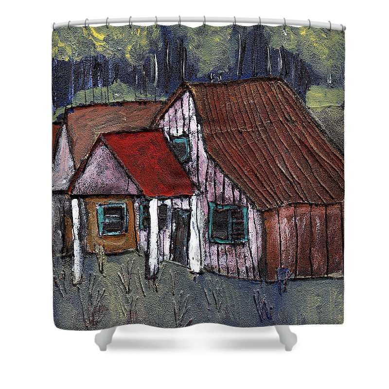 Cottage Shower Curtain featuring the painting Cottage In The Woods by Wayne Potrafka
