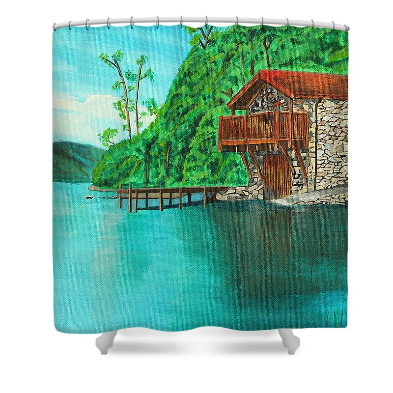 Water Shower Curtain featuring the painting Cottage On Lake by David Bigelow