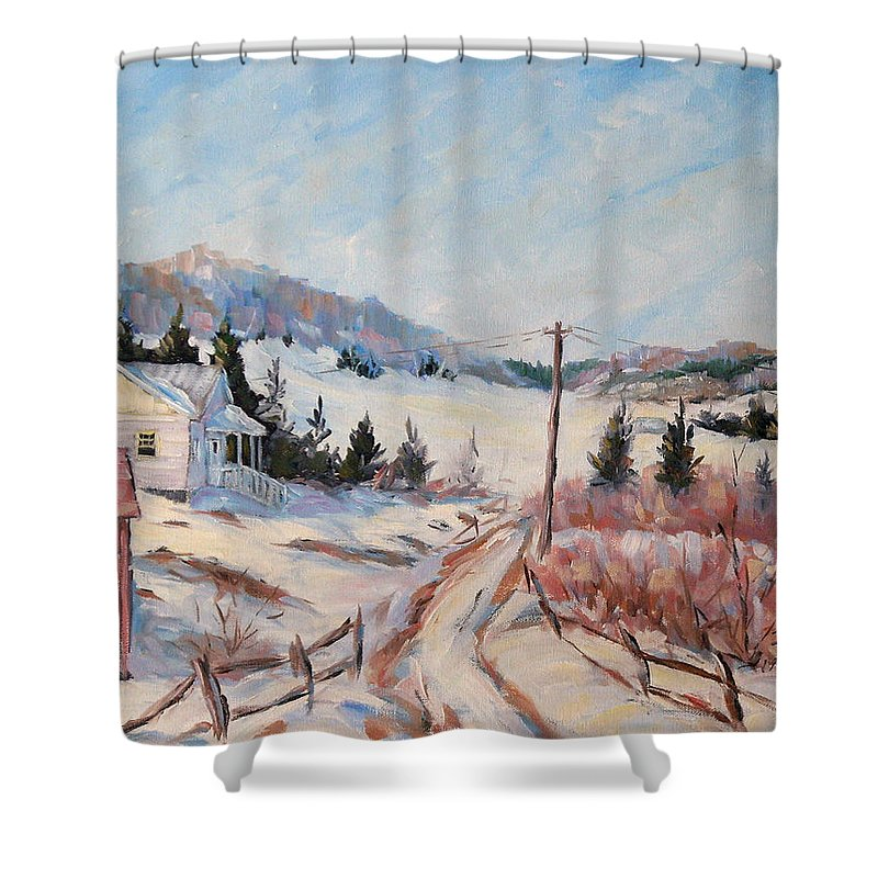 Road Shower Curtain featuring the painting Cottage Road by Richard T Pranke