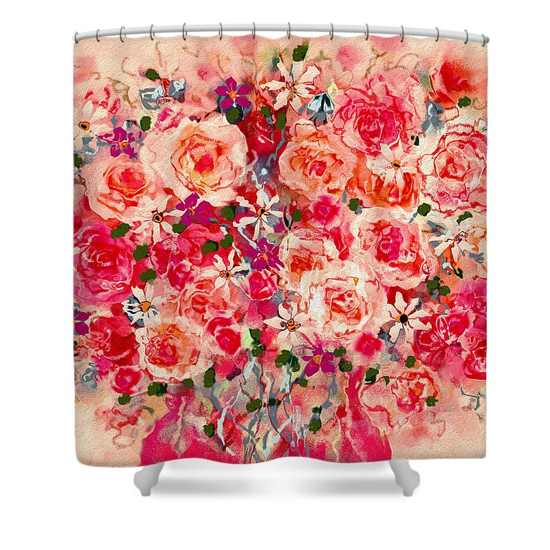 Pink Roses Shower Curtain featuring the mixed media Cottage Roses by Natalie Holland