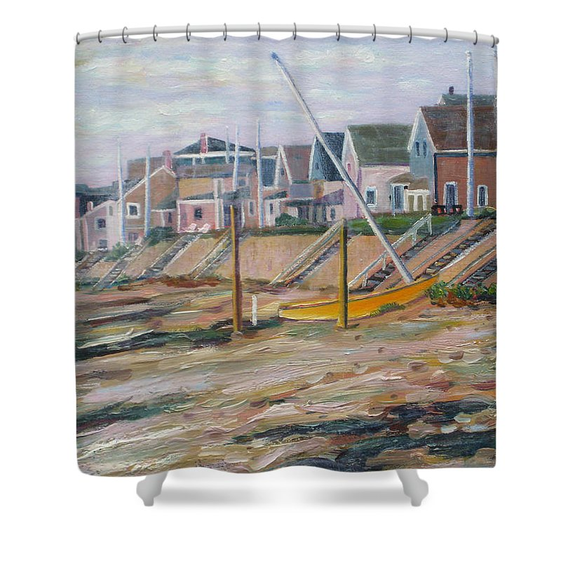 Beach Shower Curtain featuring the painting Cottages Along Moody Beach by Richard Nowak