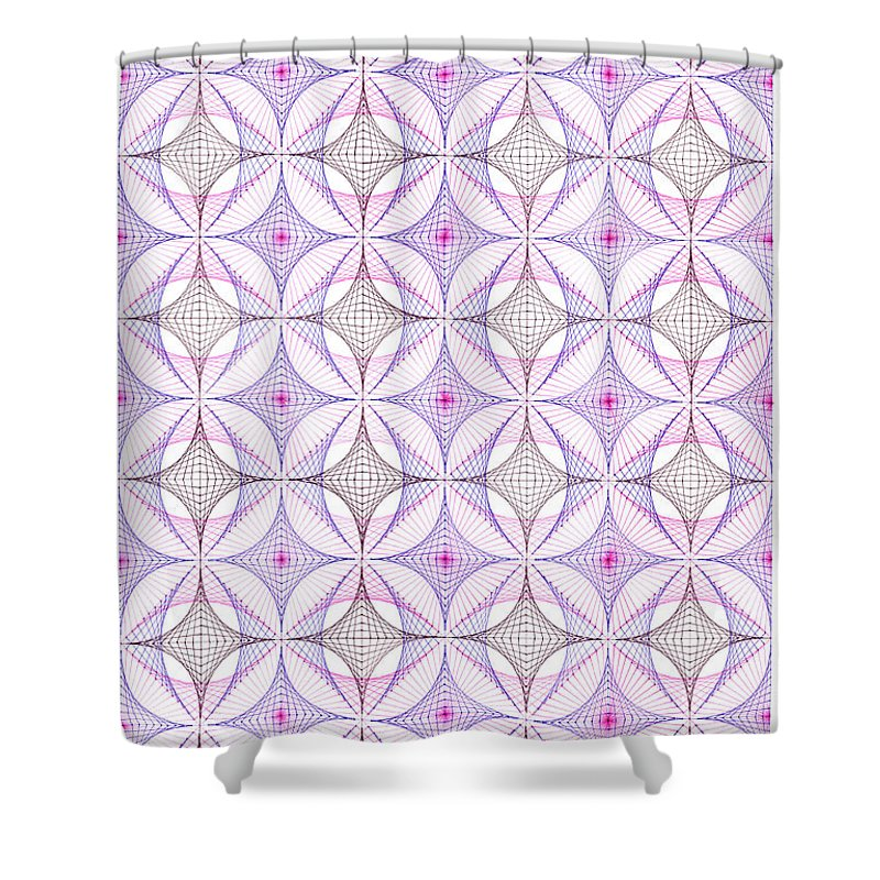 Geometry Shower Curtain featuring the drawing Cotton Candy by Bev Donohoe