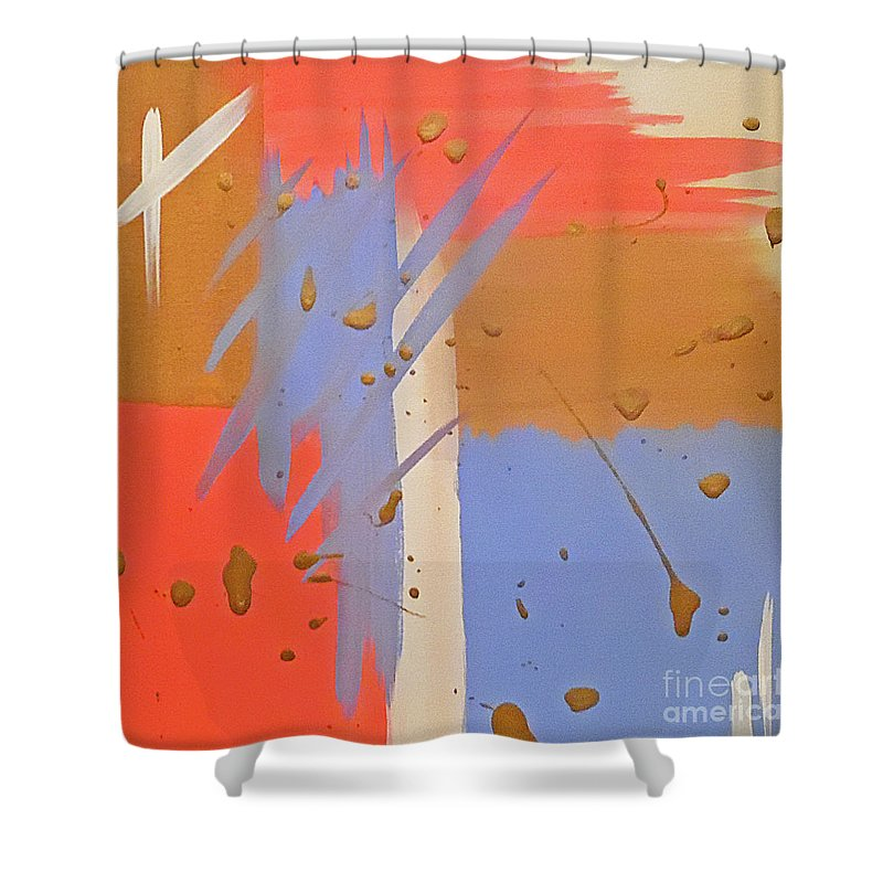 Abstract Gold Pink Shower Curtain Featuring The Painting Cotton Candy By Jilian Cramb