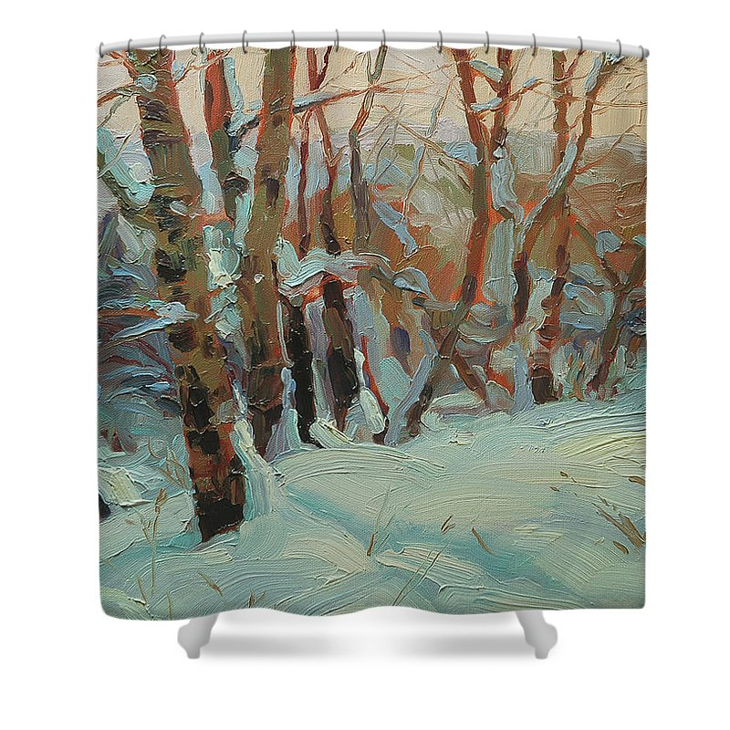Winter Shower Curtain featuring the painting Cottonwood Grove by Steve Henderson