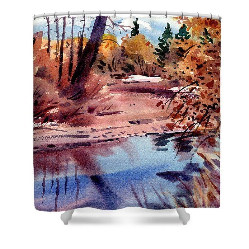 Cottonwood Trees Shower Curtain featuring the painting Cottonwoods In October by Donald Maier