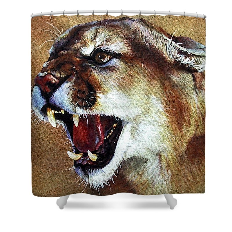 Southwest Art Shower Curtain featuring the painting Cougar by J W Baker