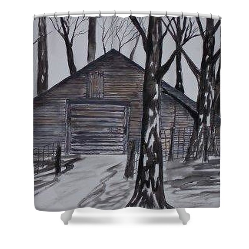 Watercolor Landscape Painting Barn Pen And Ink Drawing Print Original Shower Curtain featuring the painting COUNTRY BARN pen and ink drawing print by Derek Mccrea