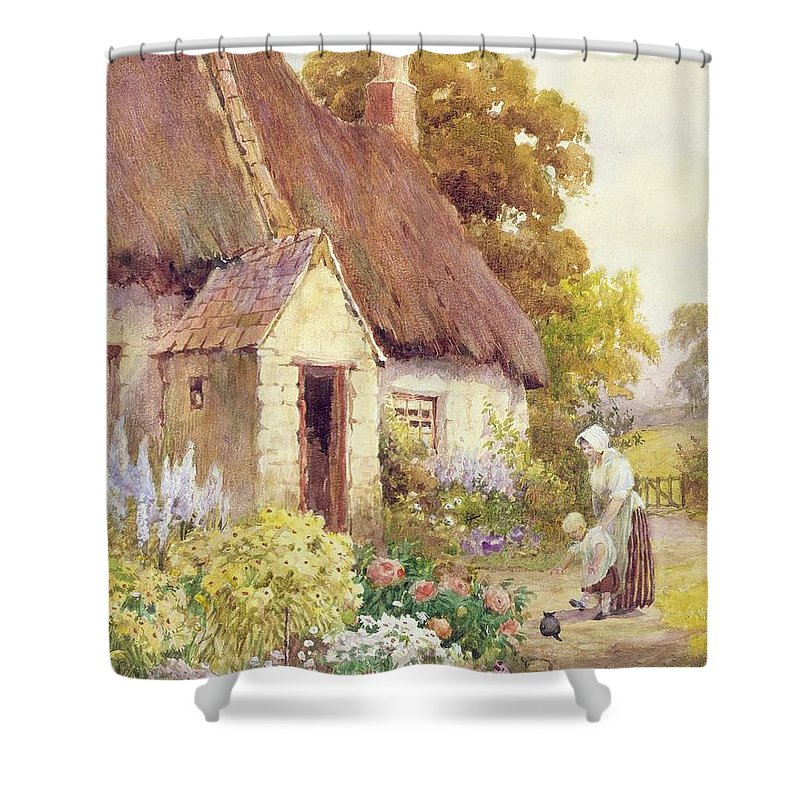 Country Shower Curtain featuring the painting Country Cottage by Joshua Fisher