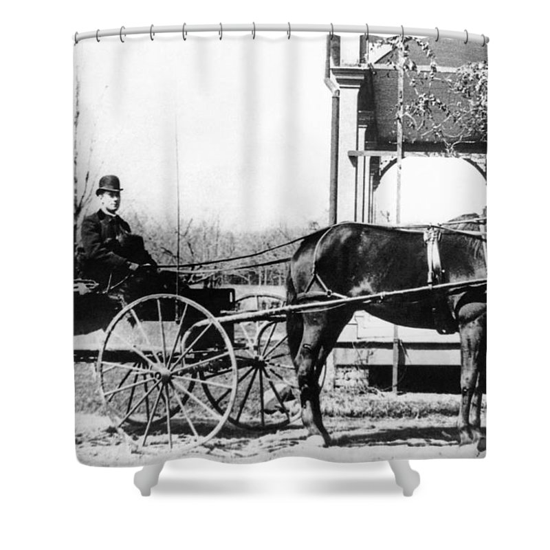 1 Person Shower Curtain featuring the photograph Country Doctor House Calls by Underwood Archives