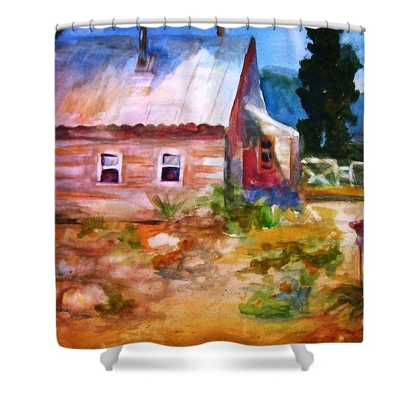 Cottage Shower Curtain featuring the painting Country House by Frances Marino