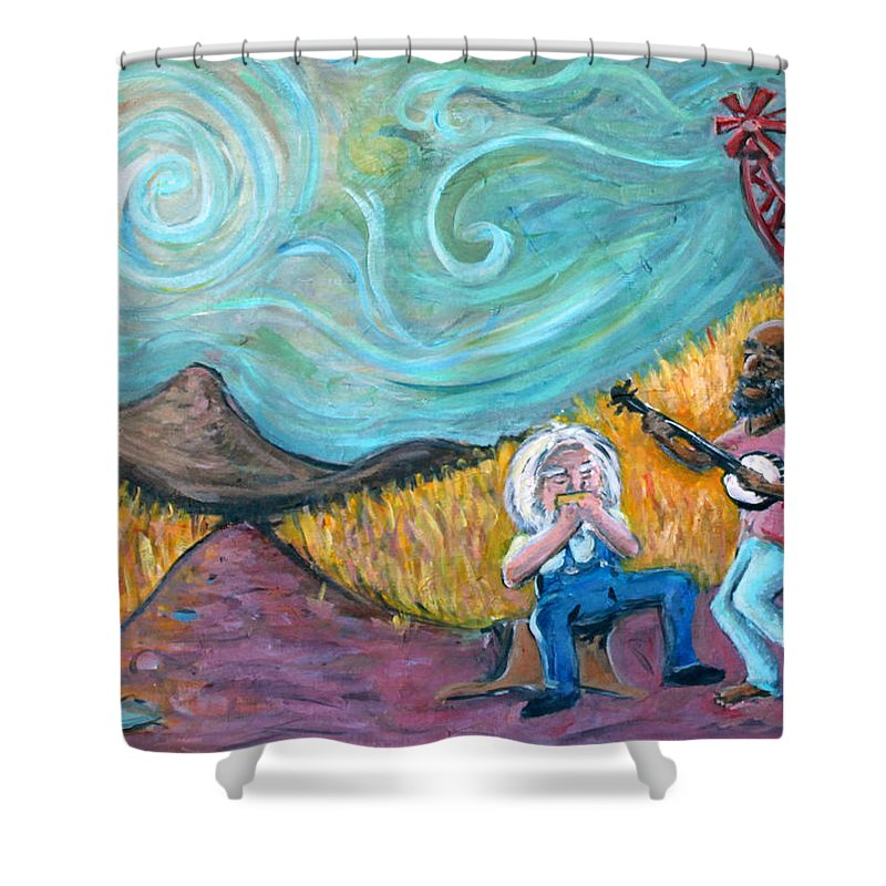 Country Music South Old Man Banjo Van Gogh Corn Field Shower Curtain featuring the painting Country Music by Jason Gluskin