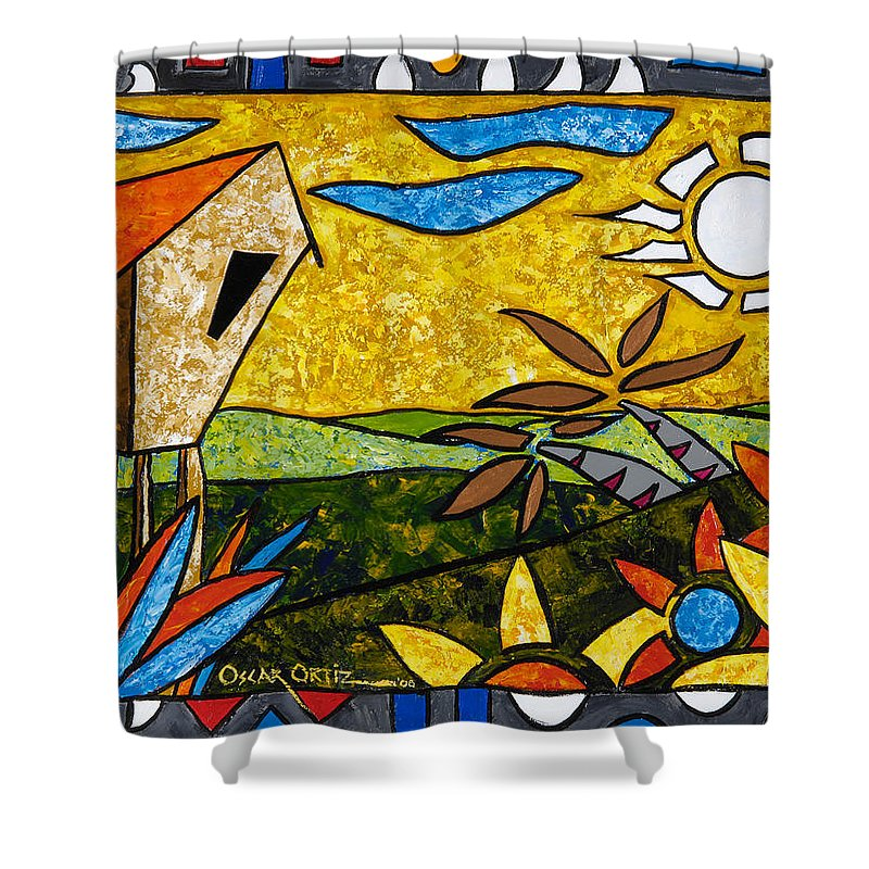 Puerto Rico Shower Curtain featuring the painting Country Peace by Oscar Ortiz