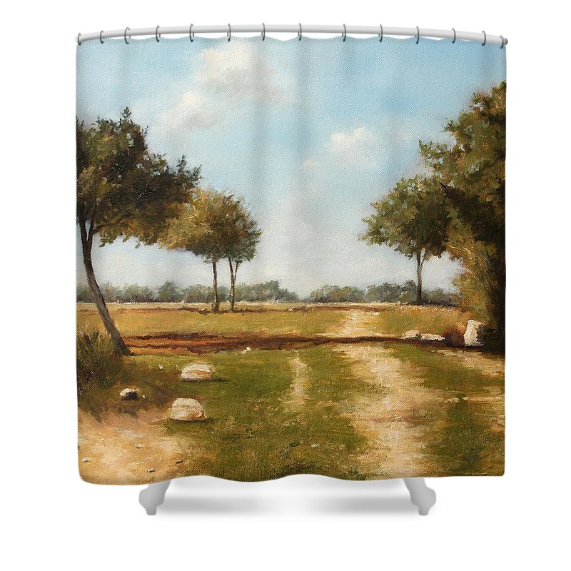Landscape Shower Curtain featuring the painting Country Road with Trees by Darko Topalski
