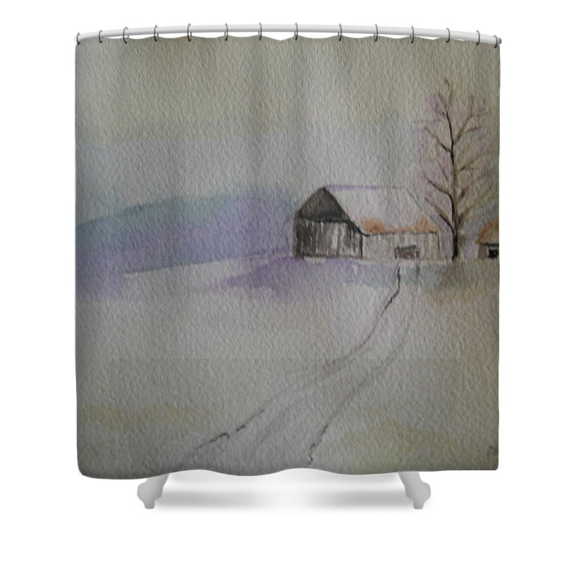 Barn Snow Winter Tree Landscape Cold Shower Curtain featuring the painting Country Snow by Patricia Caldwell