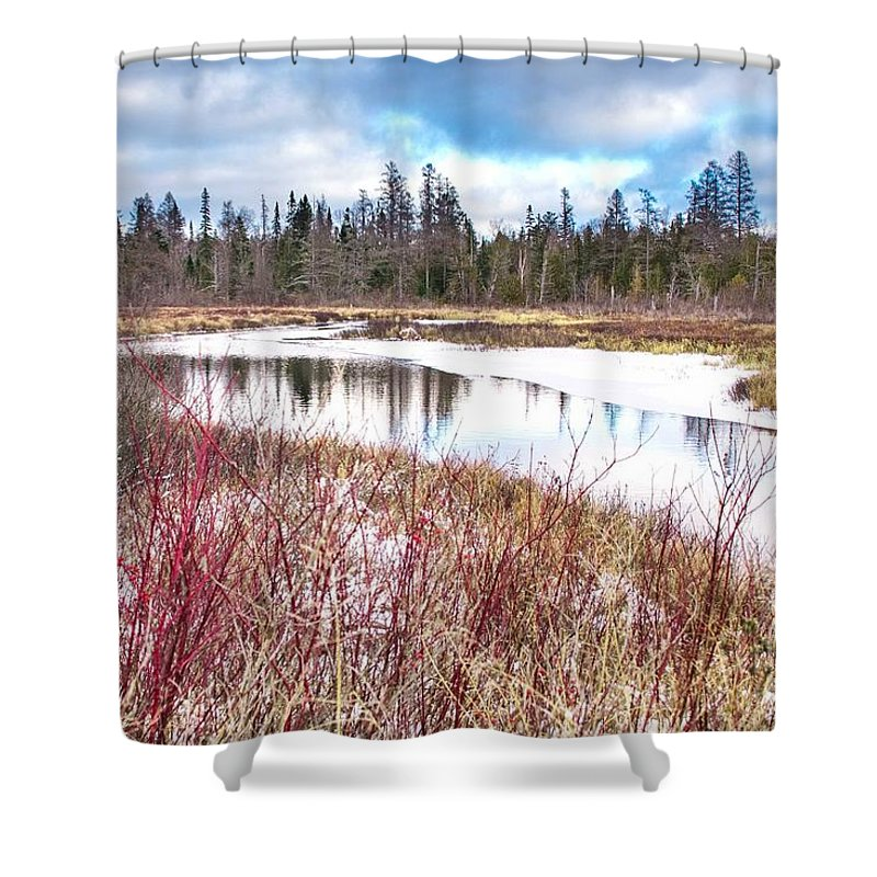 Snow Shower Curtain featuring the photograph Country Winter 12 by Wesley Farnsworth