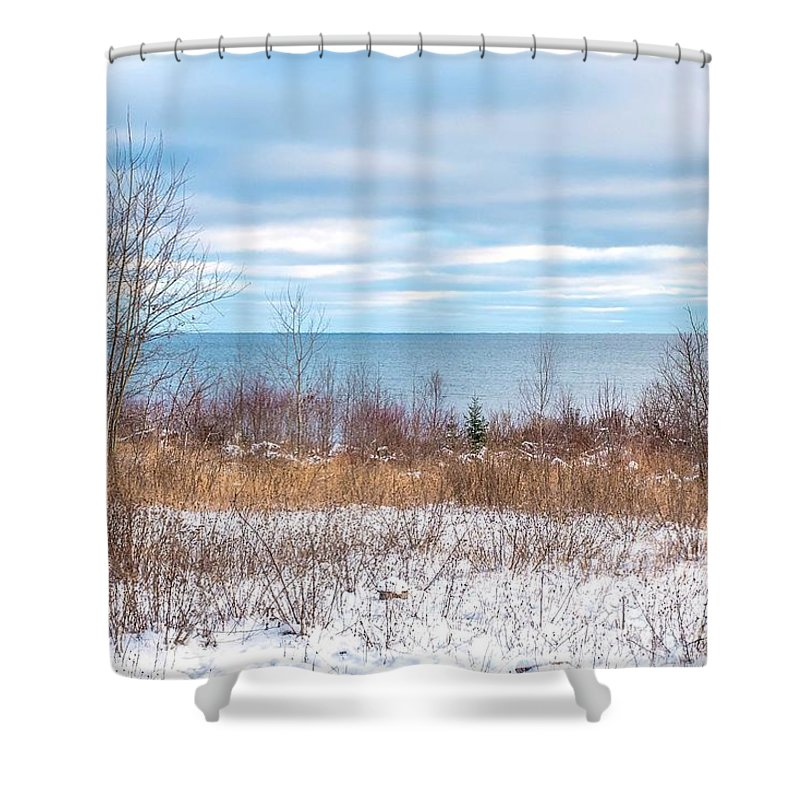 Snow Shower Curtain featuring the photograph Country Winter 16 by Wesley Farnsworth