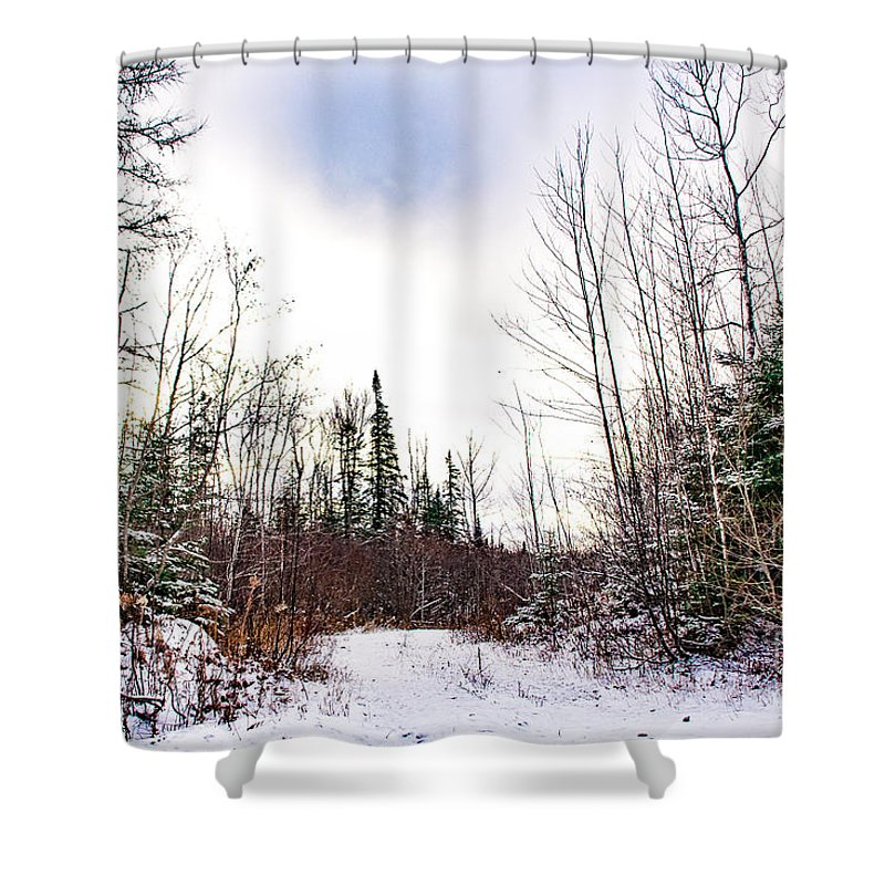 Snow Shower Curtain featuring the photograph Country Winter 5 by Wesley Farnsworth
