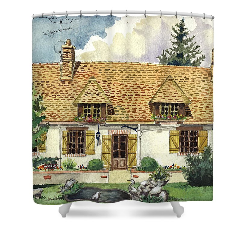 House Shower Curtain featuring the painting Countryside House In France by Alban Dizdari