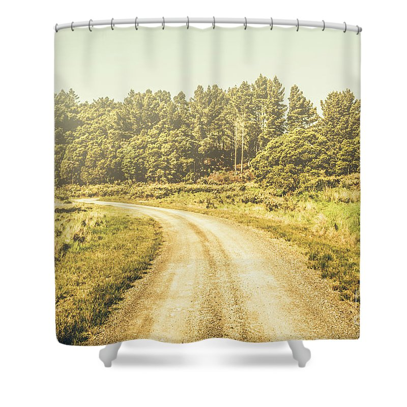 Australian Shower Curtain featuring the photograph Countryside Road In Outback Australia by Jorgo Photography - Wall Art Gallery